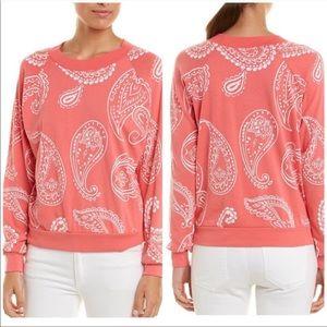Wildfox Pink Paisley Print Pullover Small NWT